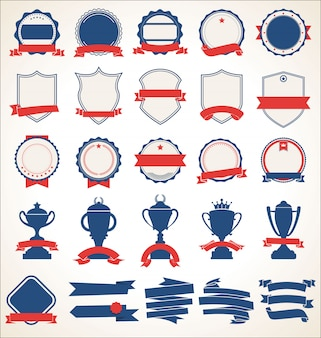 Colección de insignias y etiquetas azules y rojas.
