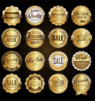 Colección de insignias y etiquetas de calidad premium retro vintage.