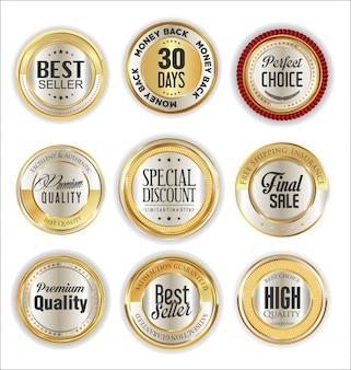 Colección de insignias y etiquetas doradas premium de lujo