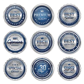 Colección de insignias y etiquetas en metal azul y plata.
