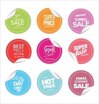 Colección de insignias y etiquetas modernas de colores