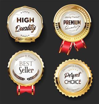 Colección de insignias y etiquetas de oro vintage retro
