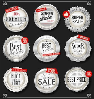 Colección de insignias y etiquetas de plata vintage retro