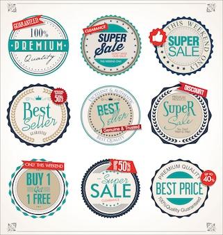 Colección de insignias y etiquetas retro vintage