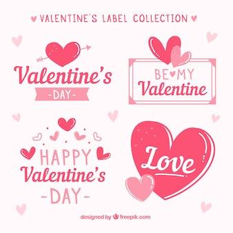 Colección de insignias y etiquetas de san valentín dibujadas a mano