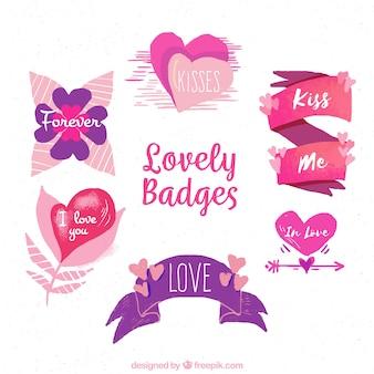 Colección de insignias y etiquetas de san valentín
