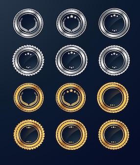 Colección de insignias y etiquetas de venta retro en blanco plateado y dorado