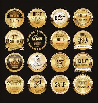 Colección de insignias y etiquetas de venta retro dorado