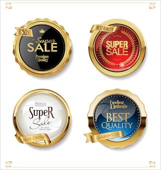 Colección de insignias y etiquetas de venta retro oro y negro