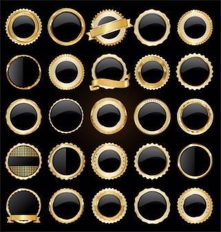 Colección de insignias y etiquetas de venta retro de oro y negro