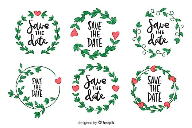 Colección de insignias florales de boda dibujadas a mano