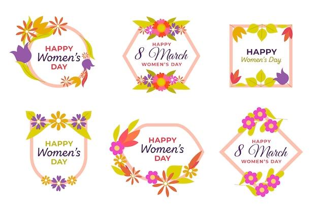 Colección de insignias florales con marco decorativo