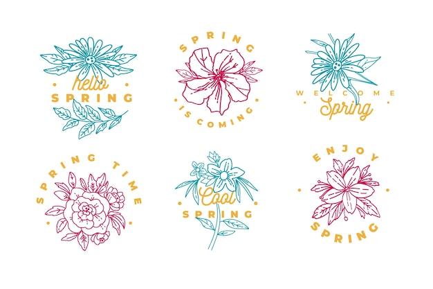 Colección de insignias de flores de colores fríos de primavera