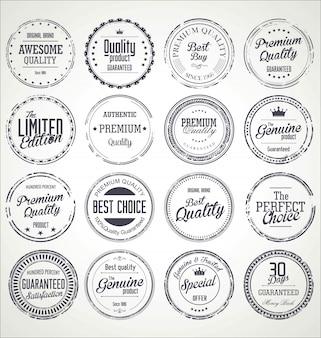 Colección de insignias de grunge retro de calidad premium