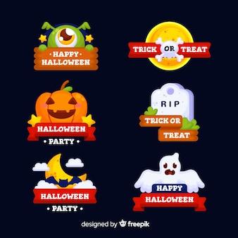 Colección de insignias de halloween con cintas