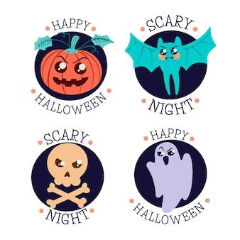 Colección de insignias de halloween dibujadas a mano