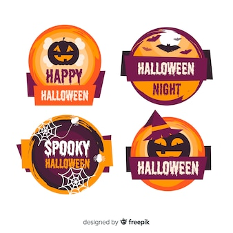 Colección de insignias de halloween de diseño plano
