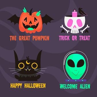 Colección de insignias de halloween en diseño plano