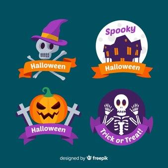 Colección de insignias de halloween plano con fondo nocturno
