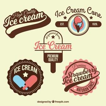 Colección con insignias de helados geniales