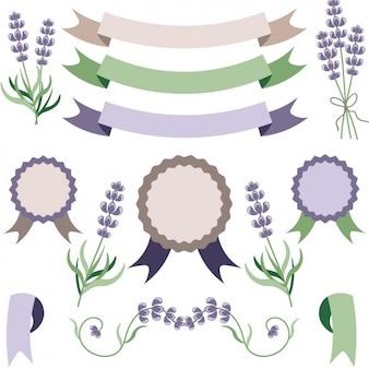 Colección de insignias con lavanda
