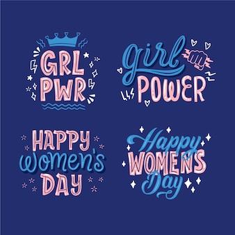 Colección de insignias de letras del día feliz de las mujeres