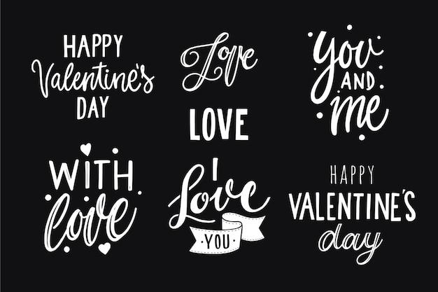 Colección de insignias de letras del día de san valentín