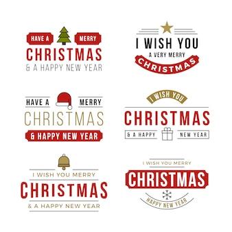 Colección de insignias de letras navideñas de diseño plano