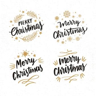 Colección de insignias de letras navideñas