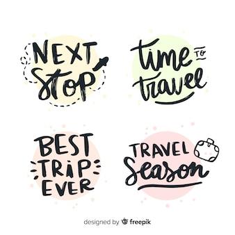 Colección de insignias de letras de viaje