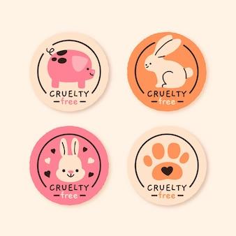 Colección de insignias libres de crueldad dibujadas a mano