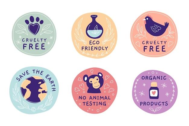 Colección de insignias libres de crueldad dibujadas