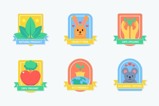 Colección de insignias libres de crueldad en diseño plano