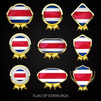 Colección de insignias de lujo con bandera dorada de costa rica