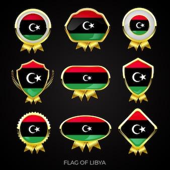 Colección de insignias de lujo con bandera dorada de libia