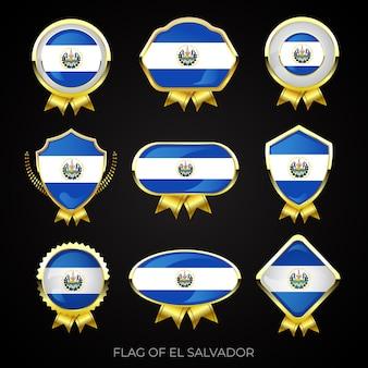 Colección de insignias de lujo con bandera dorada de el salvador
