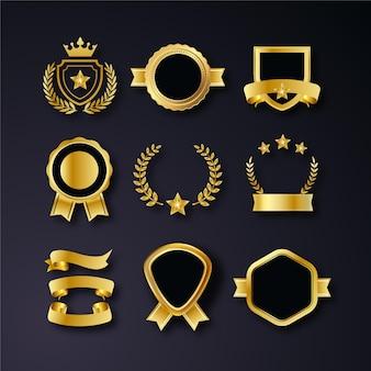 Colección de insignias de lujo doradas realistas.