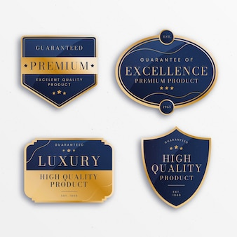Colección de insignias de lujo dorado degradado