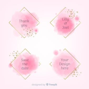 Colección de insignias de manchas de acuarela para bodas