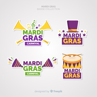 Colección de insignias de mardi gras carnaval