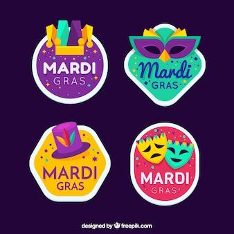 Colección de insignias del mardi gras carnival