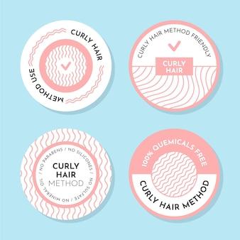Colección de insignias del método del pelo rizado