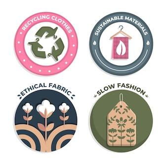 Colección de insignias de moda flat slow