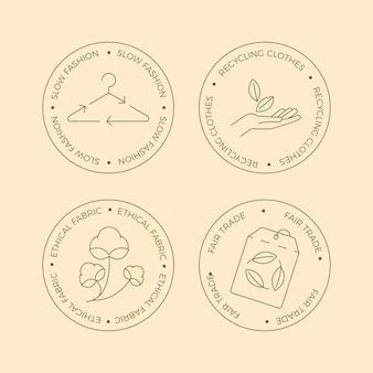 Colección de insignias de moda lenta en diseño plano