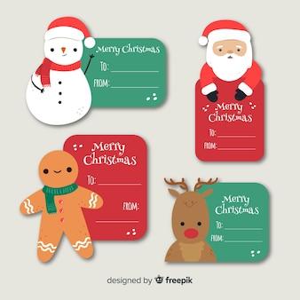 Colección de insignias de navidad dibujadas a mano