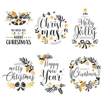 Colección de insignias navideñas con citas y adornos dorados.