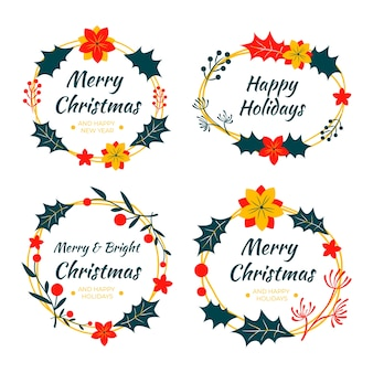 Colección de insignias navideñas dibujadas a mano