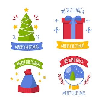 Colección de insignias navideñas de diseño plano
