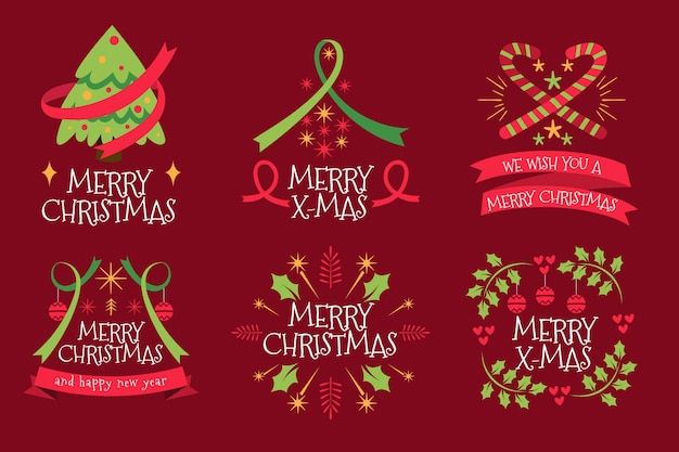 Colección de insignias navideñas en diseño plano