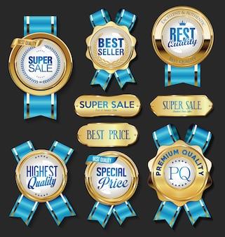 Colección de insignias de oro etiquetas laureles escudo y placas de metal